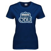 Ladies Navy T Shirt-ODU with Crown
