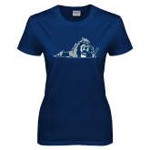 Ladies Navy T Shirt-Lion State
