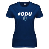 Ladies Navy T Shirt-ODU Hashtag