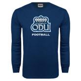 Navy Long Sleeve T Shirt-Football