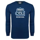 Navy Long Sleeve T Shirt-Rowing