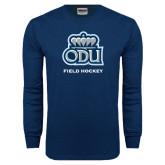 Navy Long Sleeve T Shirt-Field Hockey