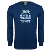 Navy Long Sleeve T Shirt-Swimming and Diving