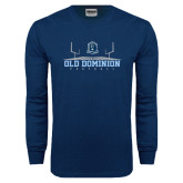 Navy Long Sleeve T Shirt-Football Field