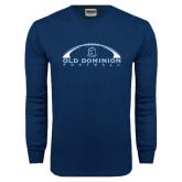 Navy Long Sleeve T Shirt-Football Inside