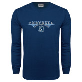Navy Long Sleeve T Shirt-Football Wings
