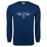 Navy Long Sleeve T Shirt-Football Wings