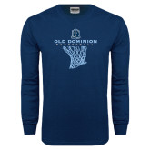 Navy Long Sleeve T Shirt-Basketball Net