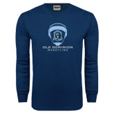 Navy Long Sleeve T Shirt-Wrestling Helmet
