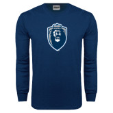 Navy Long Sleeve T Shirt-Lion Shield