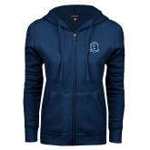 ENZA Ladies Navy Fleece Full Zip Hoodie-Monarchs Shield