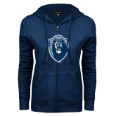 ENZA Ladies Navy Fleece Full Zip Hoodie-Lion Shield
