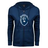 ENZA Ladies Navy Fleece Full Zip Hoodie-Lion Shield