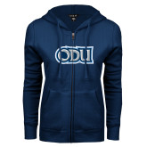 ENZA Ladies Navy Fleece Full Zip Hoodie-ODU