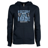 ENZA Ladies Navy Fleece Full Zip Hoodie-History Made - ODU vs VT