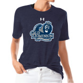 Ladies Under Armour Heather Navy Triblend Tee-Primary Mark