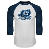 White/Navy Raglan Baseball T Shirt-Primary Mark