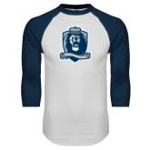 White/Navy Raglan Baseball T Shirt-Monarchs Shield