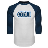 White/Navy Raglan Baseball T Shirt-ODU