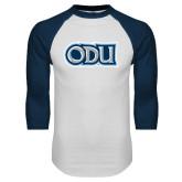 White/Navy Raglan Baseball T Shirt-ODU