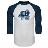 White/Navy Raglan Baseball T Shirt-Primary Mark Distressed