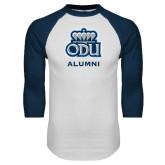 White/Navy Raglan Baseball T Shirt-Alumni