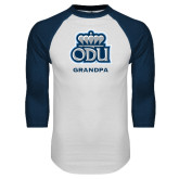 White/Navy Raglan Baseball T Shirt-Grandpa