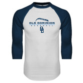 White/Navy Raglan Baseball T Shirt-Baseball Threads