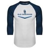 White/Navy Raglan Baseball T Shirt-Baseball Plate