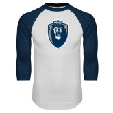 White/Navy Raglan Baseball T Shirt-Lion Shield