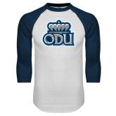 White/Navy Raglan Baseball T Shirt-ODU w Crown