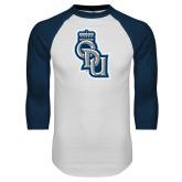 White/Navy Raglan Baseball T Shirt-ODU Step