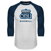 White/Navy Raglan Baseball T Shirt-Basketball