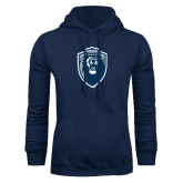 Navy Fleece Hoodie-Lion Shield