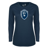 Ladies Syntrel Performance Navy Longsleeve Shirt-Lion Shield