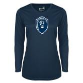 Ladies Syntrel Performance Navy Longsleeve Shirt-Lion Shield