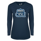Ladies Syntrel Performance Navy Longsleeve Shirt-ODU w Crown