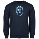Navy Fleece Crew-Lion Shield