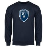 Navy Fleece Crew-Lion Shield