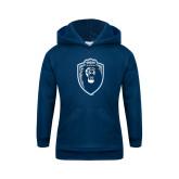 Youth Navy Fleece Hoodie-Lion Shield