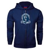 Navy Fleece Full Zip Hoodie-Monarchs Shield
