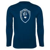 Performance Navy Longsleeve Shirt-Lion Shield