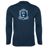 Performance Navy Longsleeve Shirt-Monarchs Shield
