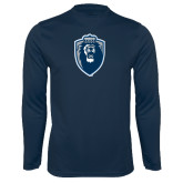 Performance Navy Longsleeve Shirt-Lion Shield