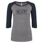 ENZA Ladies Athletic Heather/Navy Vintage Triblend Baseball Tee-ODU Graphite Soft Glitter