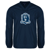 V Neck Navy Raglan Windshirt-Monarchs Shield