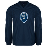 V Neck Navy Raglan Windshirt-Lion Shield