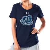 Ladies Under Armour Navy Charged Cotton Tee-Primary Mark