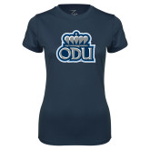 Ladies Syntrel Performance Navy Tee-ODU w Crown