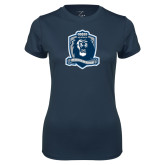 Ladies Syntrel Performance Navy Tee-Monarchs Shield